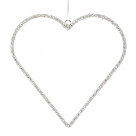 Silver Hanging Heart Decoration - XXL